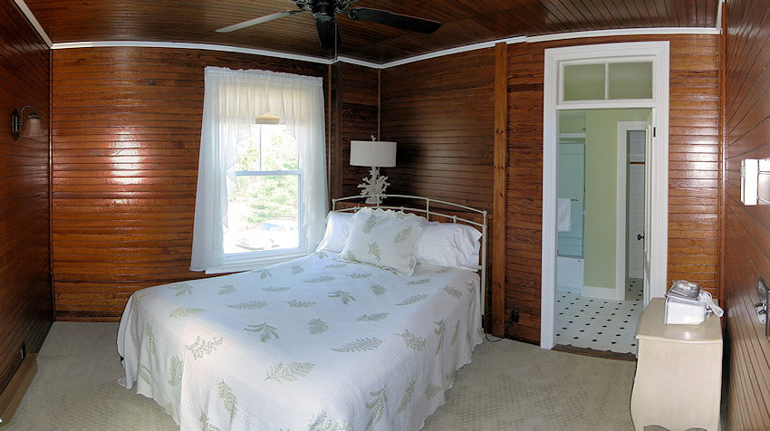 The Birch Room -- The Birch Room is on the second floor of the Inn on the back corner. It has a a peek at the water through a side window, a queen bed and private bath.