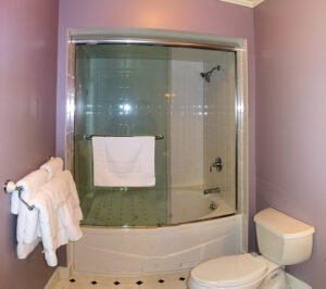 The Sunrise Suite Bath - View 1 -- Private Bathroom, Sunrise Suite on the 2nd floor of the Grey Havens Inn.