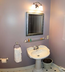 The Sunrise Suite Bath - View 2 -- Private Bathroom, Sunrise Suite on the 2nd floor of the Grey Havens Inn.