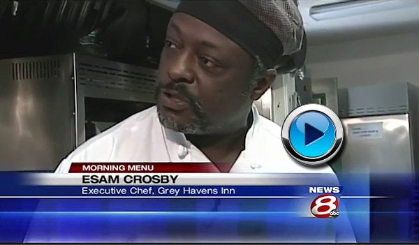 "Chef Esau Crosby of ""Blue"" at Grey Havens on WMTW-8 ABC-TV Portland, Maine"