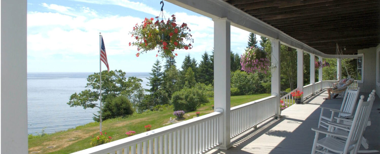 Wraparound Porch with Ocean Views - Grey Havens Inn Maine
