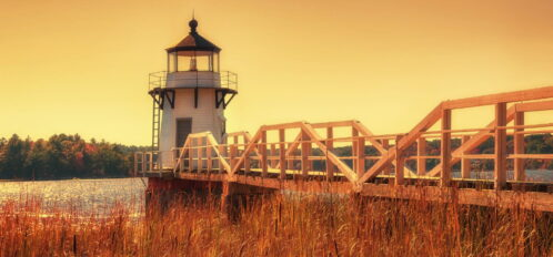 Doubling Point Lighthouse on the Kennebeck River, Maine. Toned image.