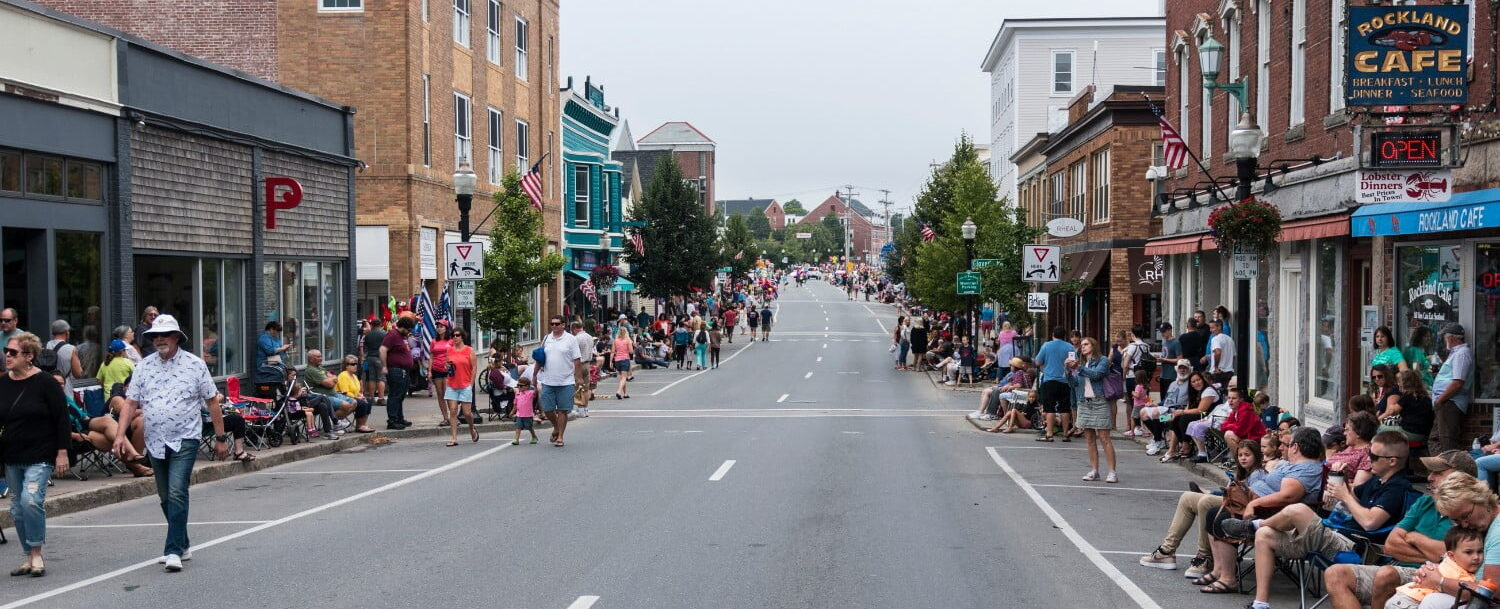People start to line the streets of Rockland Maine to enjoy the annual Lobster festival parade. annual events near Georgetown maine