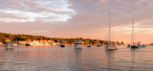 boats sailing in Maine at Boothbay Harbor