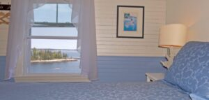 The interior of The Ocean Room at Grey Havens Inn: ocean view inn in Midcoast Maine.