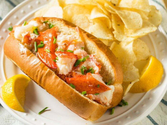 Homemade New England Lobster Rolls with Butter and Chives at the Maine Lobster Festival.