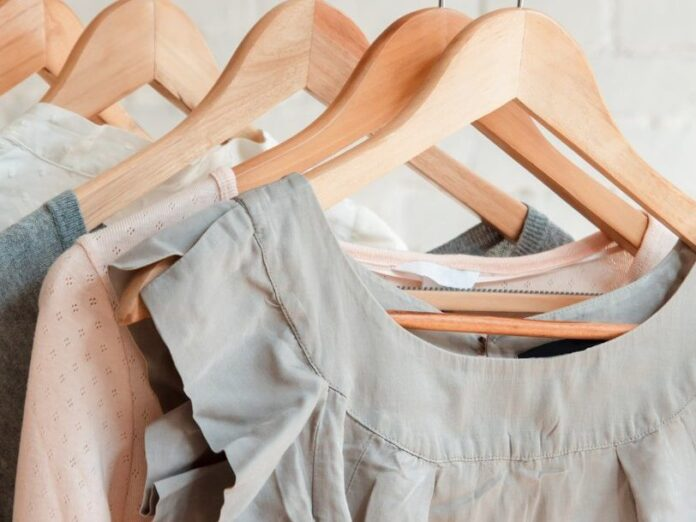 Clothes on a rack: shopping near Portland, Maine.