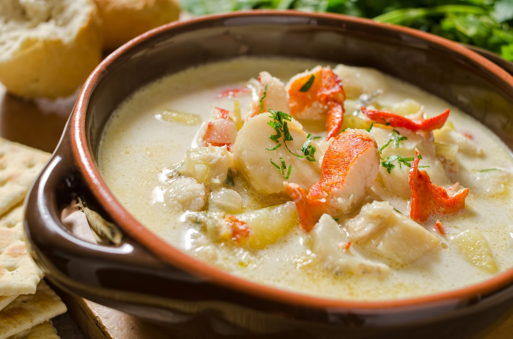 A bowl of authentic Maine seafood chowder.